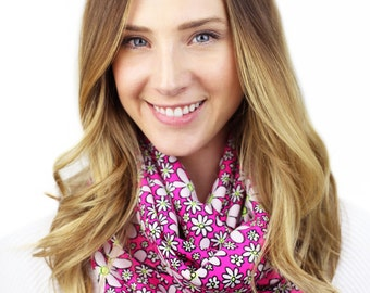 PINK DAISY SCARF, sadie, hot pink infinity scarf