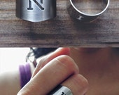 Personalized ring / monogrammed initial ring / monogram ring /monogram jewelry /gift for her & him / matte stainless steel ring