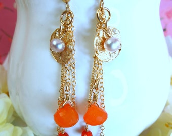 Carnelian gold shell pearl tassle earrings, gold shell beach carnelian earrings, Hawaii gold shell carnelian coral earrings  kauai maui oahu