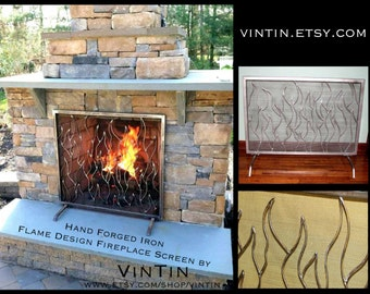 MOST POPULAR Made to Fit Your Fireplace Hand Forged Iron Flame Design Fireplace Screen by VinTin (Item # F-215)