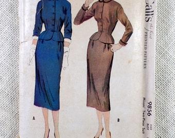 Vintage Pattern McCall 9856 1950s slim skirt dress Bust 34 Peplum suit detachable collar Stewardess bombshell
