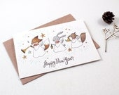 Holiday Cards - Happy New Year Angels - 10 Greeting Cards