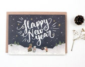 Holiday Card - Happy New Year, Starry Night - Greeting Card