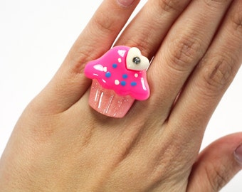 Pink Cupcake with White  Heart Adjustable Statement Ring