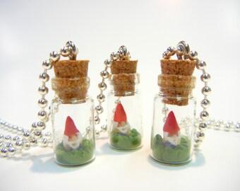Gnome Bottle Necklace, Bottle Necklace, Garden Gnome Pendant, Tiny gnome necklace