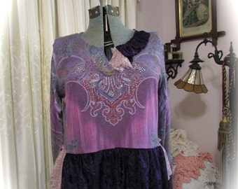 SALE Purple Lavender Top, upcycled bohemian clothing, soft stretchy pull over shirt, velvet hemline, XL, X LARGE