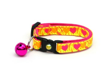 Valentines Day Cat Collar - Wild Neon Yellow and Pink Hearts - Kitten or Large Size