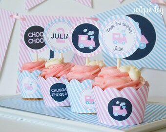 Train Cupcake Toppers & Wrappers - Printable - Girl Train Themed Birthday Party - Cupcake Wrappers - Party circles // TRAG-09