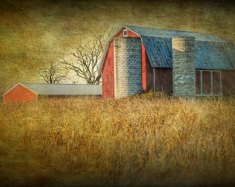 Country Scene with Red Barn and Corn Field at a Rural Farm in West Michigan No.0707 - A Fine Art Landscape Agricultural Photograph