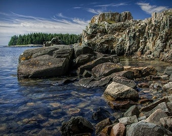 Ocean Bay with Rocky Shore Cliffs in Acadia National Park on Mount Desert Island in Maine No.075 - A Fine Art Seascape Photograph