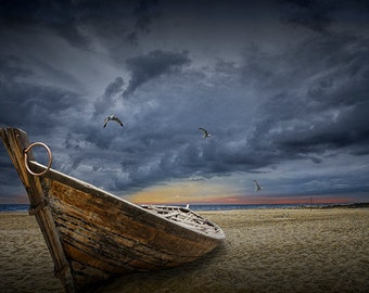 Abandoned Boat on a Sandy Lake Huron Beach with Flying Gulls amidst oncoming Storm by Oscoda Michigan No.012910 A Fine Art Boat Photograph