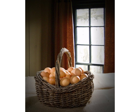 Do not Put All Your Eggs in One Basket A Fine Art Still Life Photograph with Brown Eggs and Woven Basket