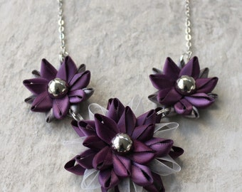 Purple Necklace, Silver and Purple Statement Necklace, Handmade Necklace and Earring Set, Purple Jewelry Gift, Purple and Silver Necklace