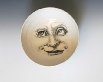 White Bowl with Moon Face, Hand made Porcelain Bowl with Faces of the Moon, Artistic Useful Dish or Wall Hanging!