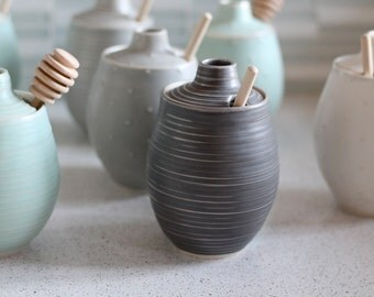 Pottery Honey Pot - Grooved Charcoal Gray Ceramic Pot