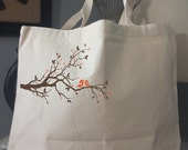 Canvas Tote Bag-Large Carry All Cotton Tote- Tree Of Love-Orange Birds on Branch