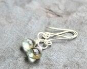 Green Amethyst Earrings Prasiolite Earrings, Sterling Silver, Simply Dangle Delicate Gemstone Jewelry