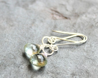 Green Amethyst Earrings Prasiolite Earrings, Sterling Silver, Simply Dangle Delicate Gemstone Jewelry