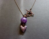 YEN -Faceted Purple Jade with Violet Patina Heart Toggle Necklace