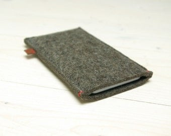FELT IPHONE 6 COVER - Sand Brown wool - red accent - also for iphone 6 plus +