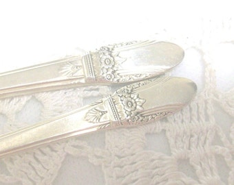 First Love Silver Butter Knife & Sugar Spoon 1937 //