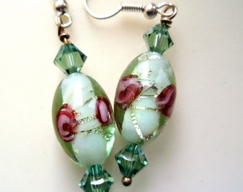 Green Earrings with Erin Swarovski Crystals, Rose Earrings, Pale Green Earrings, Glass Earrings