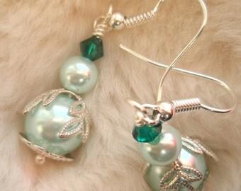 Pale Green Glass Pearl Earrings, Silver Earrings, Emerald Green Earrings, Pale Teal Earrings