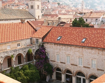 Dubrovnik Croatia Photography - Mediterranean Decor - European Architecture - Old Walled City - Courtyard - Travel Photography - Croatia Art