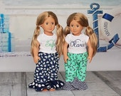 American Girl 18 Inch Doll Pajama Pant Set Top Ruffle Bottoms Sailboat Anchor Mint Navy Polka Dot Nautical