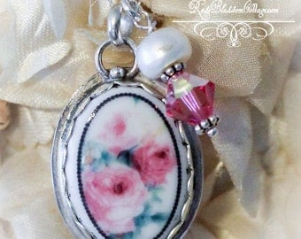Soft Pale Pink Roses Oval Porcelain Sterling Necklace Charm Pendant