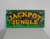 Vintage Jackpot Jungle Slot Machine Glass 1980s Window Panel Casino Man Cave Decor Home Decor GallivantsVintage