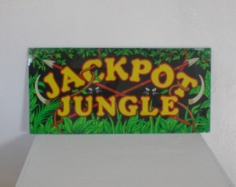 Vintage Jackpot Jungle Slot Machine Glass 1980s Window Panel Casino Man Cave Decor Home Decor GallivantsVintage