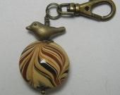 Bird Zipper Pull Swirl Glass Bead Backpack Purse Fob Swivel Clip on Charm
