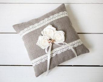 Ring pillow - Ring Bearer Pillow - Linen Ring Bearer Pillow -  Rustic Wedding linen lace Ring Pillow with roses