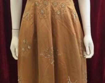 Perfect metallic bronze beaded1950's prom dress size 6 to 8!