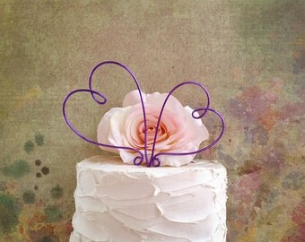 Two Hearts Wedding Cake Topper, Rustic Wedding Cake Decoration, Bridal Shower Decoration, Engagement Party Cake Topper, Anniversary Party