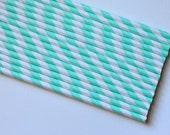 Vintage Inspired Paper Straws - Mint Green Striped - 25 count with DIY Printable Straw Flags