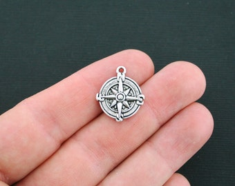 8 Compass Charms Antique Silver Tone - SC3107