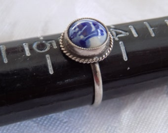 Vintage ring, size 4 & 1/2 Delft pottery Holland sterling silver windmill ring, vintage jewelry