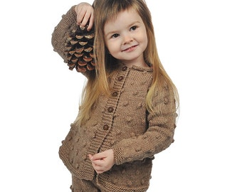 Toddler Baby Girl Sweater, brown beige hand Knitted cardigan, warm wool, popcorn bobble, Fall Winter Xmas 9-12-18-24 months 2T 3T 4T 5 6 7