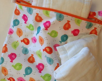"Baby Wet Bag 12"" x 15"" PUL Waterproof Bird Print Eco Friendly Reusable"
