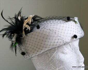 Ivory Wool Ladies Hat, Glamour, Vintage Style Gift