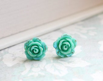 Pretty Little Roses Studs Flower Earrings iridescent Aqua Teal Metallic Shimmer Sparkle Surgical Steel Posts Nickel Free Modern Accessories