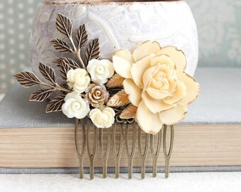 Ivory Cream Rose Bridal Hair Comb Flower Hair Jewelry Garden Wedding Hair Accessory Bridesmaid Gift Romantic Gold and Cream Floral Collage