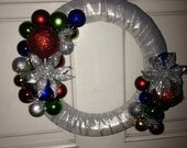 Just Reduced-Christmas Ball Decorated Silver Wreath
