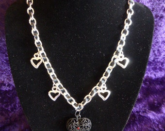 Black Ribbon Chain Necklace with Heart Pendants