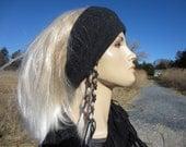 Pure Cashmere Big WIDE Headband Hair band Head Warmer Charcoal Gray 100% Cashmere Dreadlock Tube Hat A1122
