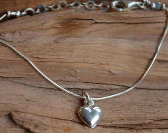 Heart Charm Bracelet - Sterling Silver- Ships Out in 1 Day - Valentines Day,Birthday, Graduation, Anniversary - Wife, Girlfriend, Bestfriend