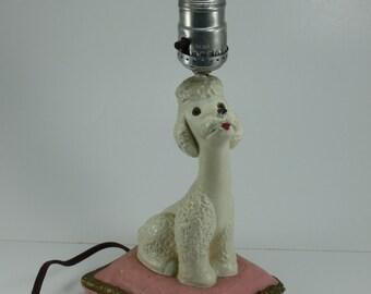 Vintage Poodle Lamp Chalk Chalkware White