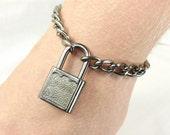 Male Submissive Bracelet Locking Jewelry Padlock bracelet Slave Bracelet